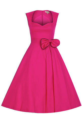 Lindy Bop Grace Dress Hot Pink Front View