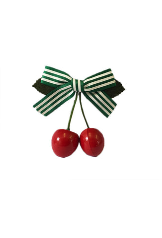 Cherry Hair Clip - Green Stripe