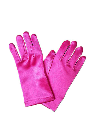 Satin Wrist Gloves - Hot Pink Top Side