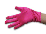Satin Wrist Gloves - Hot Pink with Hand Model