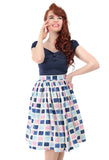 Collectif Jasmine Paint Pot Skirt - Blue/Pink with Model
