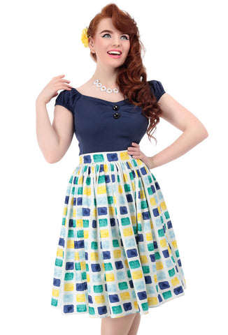 Collectif Jasmine Paint Pot Skirt - Yellow/Teal with Model