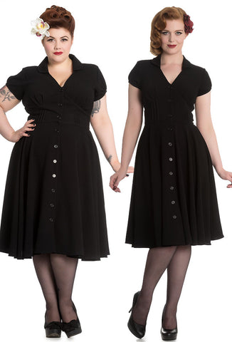 Hell Bunny Keely Dress - Black with 2 Models