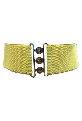 "Stretch Cinch Belt - Lemon Yellow 3"" Wide Elastic Belt for Rockabilly Dresses"