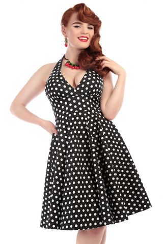 Collectif Marilyn Polka Dot Dress Close Up Front View