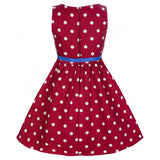Lindy Bop Kids Girls Mini Audrey Dress Red White Polka Dot Back View