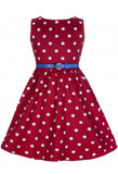 Lindy Bop Kids Girls Mini Audrey Dress Red White Polka Dot Front View