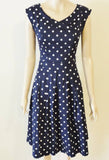 Timeless Calista Dress - Navy/White Polka Dot Full View Front