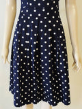 Timeless Calista Dress - Navy/White Polka Dot Bottom Half Front View