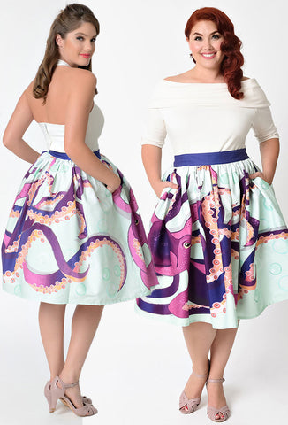 Unique Vintage Octopus Skirt Front & Back