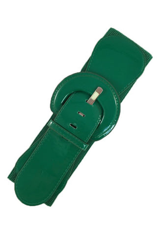 Patent Stretch Elastic Belt - Green
