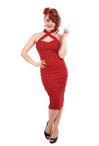Collectif Penny Flocked Cherry Pencil Dress