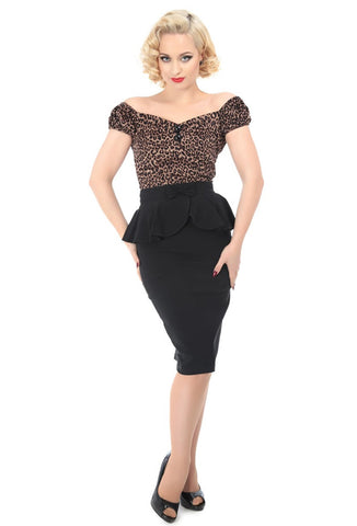 Collectif Pepper Peplum Skirt | Stretch Bengaline Wiggle Pencil Black with Model