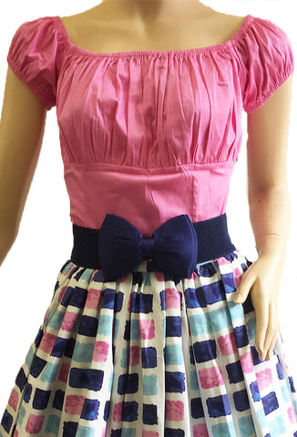 Pink Peasant Top Front View with Skirt and Belt