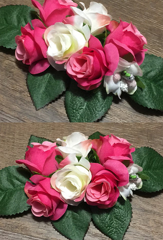 Pink & White Roses Hair Flower