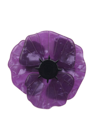 Erstwilder Poppy Field Brooch - Purple Front