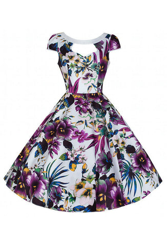 Hearts & Roses London Purple Floral Cut Out Dress