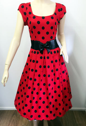 Timeless Polka Dot Patience Dress - Red/Black Front View