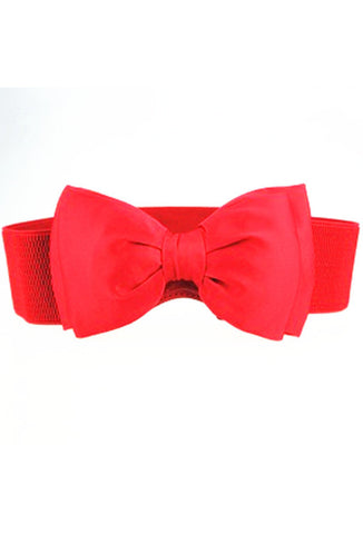 Stretch Bow Belt - Red