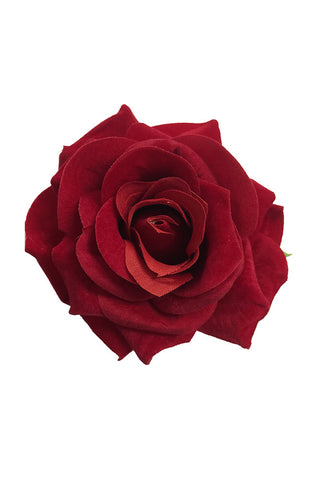 Single Rose Hair Flower - Red