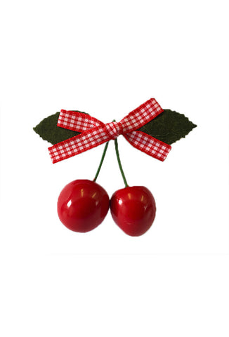 Cherry Hair Clip - Red Gingham