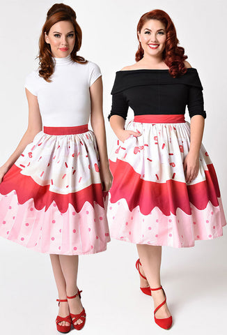 Unique Vintage Red Velvet Cupcake Skirt with Plus Size Model