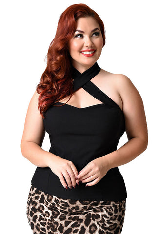 Unique Vintage Rita Top - Black Plus Size Model
