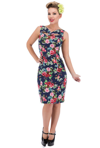 Hearts Roses London Navy Rose Wiggle Dress