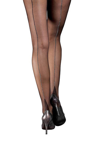 Moulin Rouge Black Pantyhose with Silver Back Seam