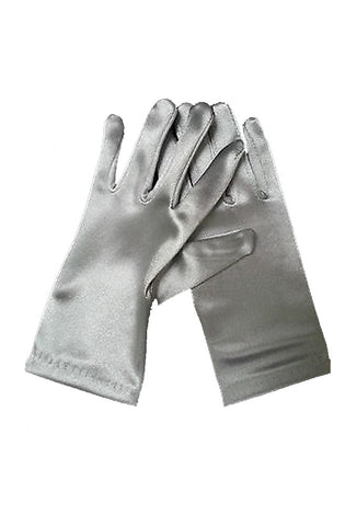 Satin Wrist Gloves - Silver