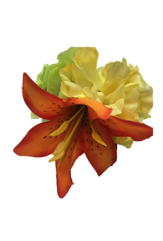 Triple Hair Flower - Orange/Yellow/Green