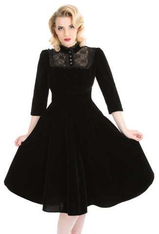 Hearts & Roses London Night Shade Velvet Dress