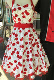 Hearts & Roses Large Cherry Print Dress - White on Mannequin
