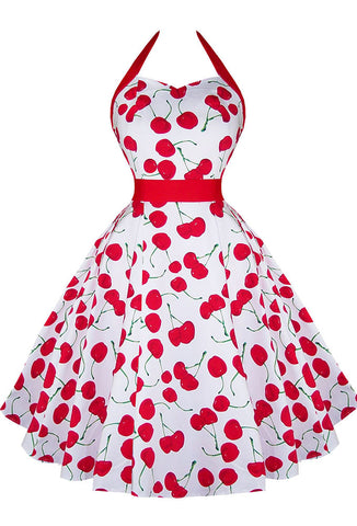 Hearts & Roses Large Cherry Print Dress - White
