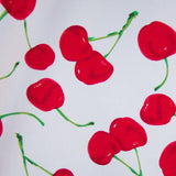 Hearts & Roses Large Cherry Print Dress - White Close up View of Print