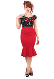Collectif Winifred Skirt - Red on Model