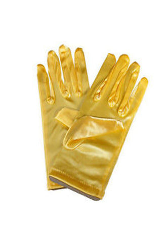 Satin Wrist Gloves - Yellow