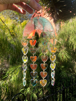 Iridescent Cascading Hearts Wall Hanging