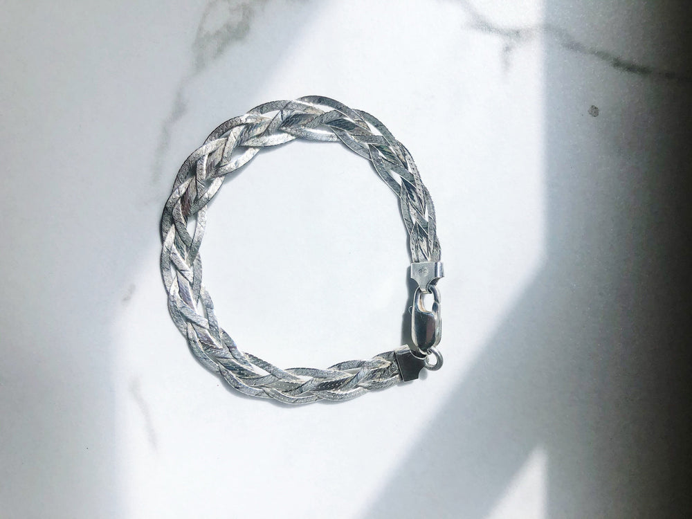 Vintage Sterling Silver Herringbone Braided and Twisted Chain Link Tennis Bracelets
