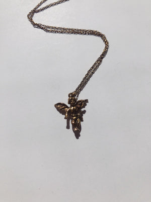 Vintage Gold on Sterling Silver Angel Pendant Chain 18""