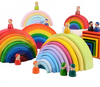 Wooden Rainbow Stacking Toy - LARGE SIZE!
