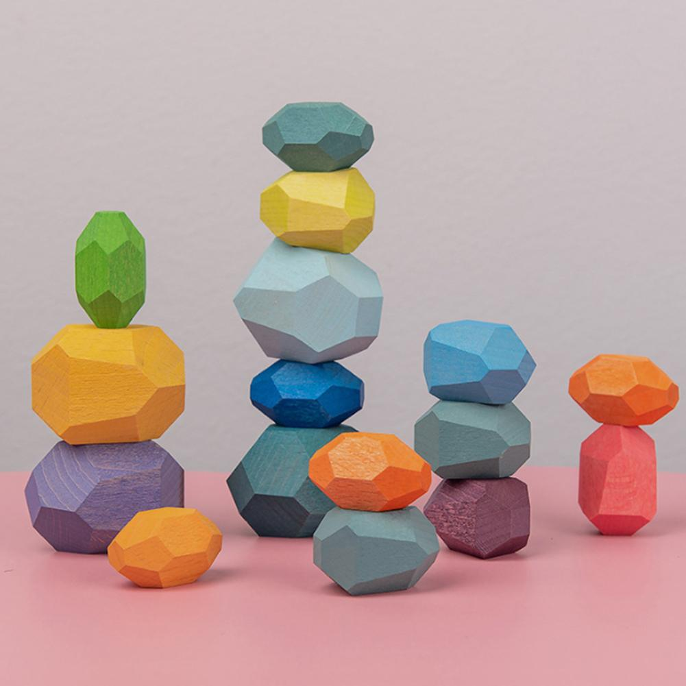 Stacking Rainbow Stones (Wooden)