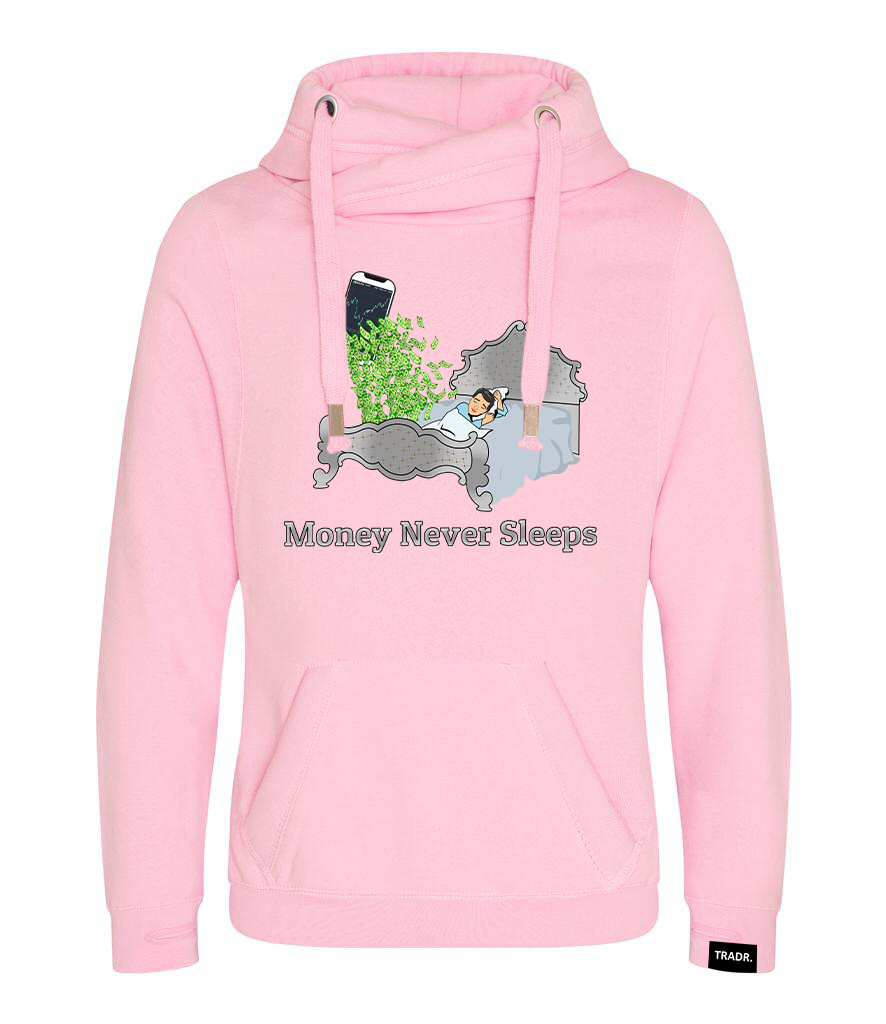 'Money Never Sleeps' Mens Tradr. Cross Neck Hoody - Limited Edition