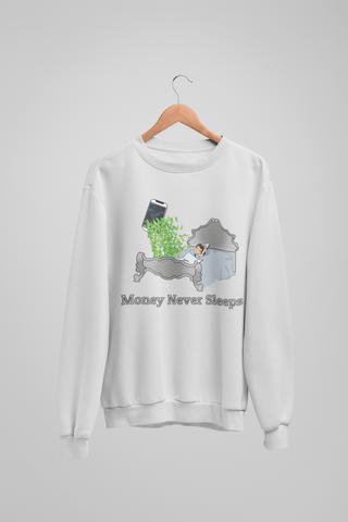 'Money Never Sleeps' Mens Tradr. Sweatshirt - Sweatshirts - TRADR. Clothing