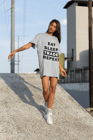 Forex Life 'Eat Sleep Trade Repeat' Womens Tradr. T-Shirt Dress - T-Shirt Dress - TRADR. Clothing