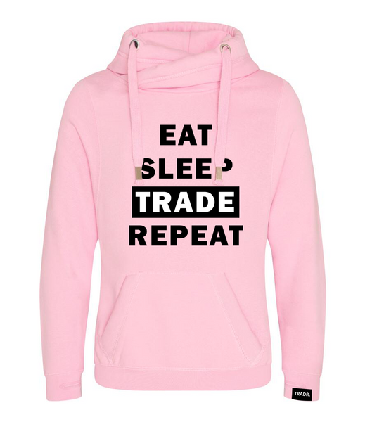 Forex Life 'Eat Sleep Trade Repeat' Mens Tradr. Cross Neck Hoody - Limited Edition