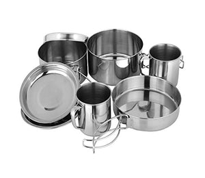BeGrit Outdoor Camping Hiking Backpacking Picnic Cookware Cooking Set (8pcs/set, 410 Stainless Steel)