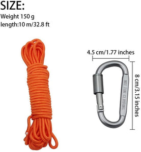 BeGrit Floating Rope Anchor Mooring Rope Multifunction Rope 6 mm Kayak Canoe Tow Throw Line with Aluminum D-Ring Locking Carabiner for Boat Camping Hiking Awning Tent Canopy
