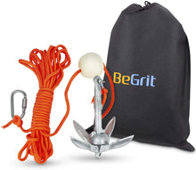 Load image into Gallery viewer, BeGrit Small Boat Anchor Kit Folding Grapnel Anchor Carbon Steel 1.5 lb  with 32.8 ft Anchor Tow Rope