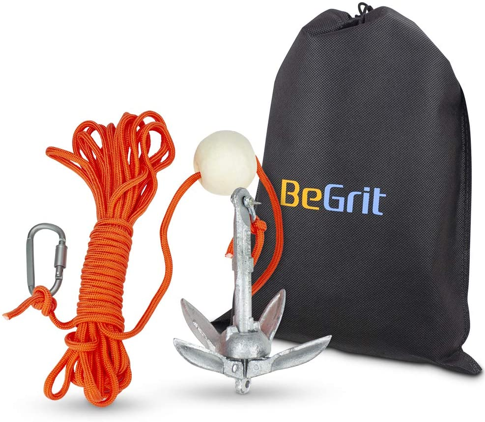 BeGrit Small Boat Anchor Kit Folding Grapnel Anchor Carbon Steel 1.5 lb  with 32.8 ft Anchor Tow Rope